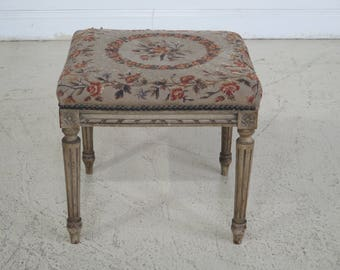 F43520EC: Antique French Ottoman with Aubusson Seat