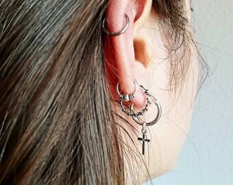 Cross Hoop Earrings, Hoop Earrings, Cross Earrings, Delicate Cross Earrings, Silver Cross Earrings, Gift For her, Silver Earrings. 15mm