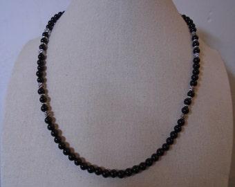 Mens Black Onyx Necklace, Mens Black Beaded Necklace.