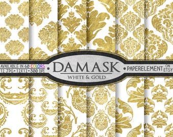 Printable White and Gold Damask: Gold and White Damask Digital Paper, Damask Scrapbook Paper, Damask Paper, Damask Printable, Damask Pattern