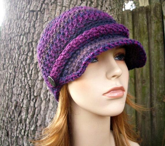 Crochet Hat Womens Hat Purple Newsboy Hat - Biloxi Skullcap Beanie with Visor in Grape Jelly Purple Pink Crochet Hat - Womens Accessories