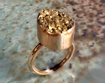 Golden druzy ring, Gold filled ring, boho ring, Pyrite ring, stone ring, shiny gold band, high stone ring, engagement - The Better Way R2416