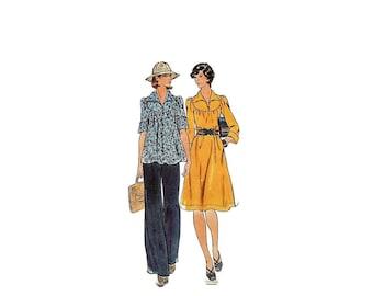 1970s Vintage Sewing Pattern - Butterick 4126 - Babydoll Blouse Dress