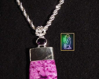Sterling Purple Turquoise and Amethyst Pendant on 20 inch 5mm Sterling Silver Rope Chain