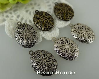 LK-100-46L  4pcs Antique Brass /Antique Silver or Silver Plated Oval Locket Filigree,Nicket Free.