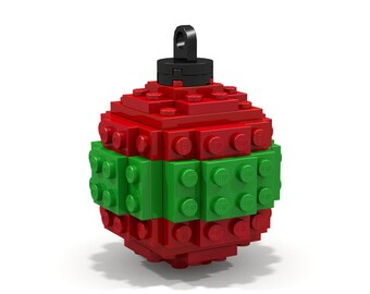 Red and Green Striped Ornament - Made from Lego Bricks!