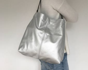 Silver Leather Slouch Tote Bag