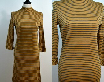 1960s Body Con Dress / 60s Vintage Dress / Striped Dress / Medium M / Mock Turtleneck Dress / Wiggle Dress / Beatnik / Stretchy