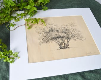 Lover's Oak - Rustic Tree Art - Fine Art Print - Southern Artist - Prints on Wood - 11x14