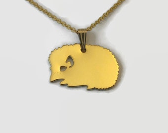 Tiny Gold Hedgehog Necklace - Animal Jewellery - 24 Carat Gold Plated Hedgehog Lover Pendant - Wildlife necklace for animal lovers