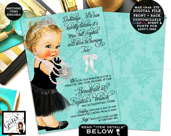 Baby and Co Birthday invitation, 2nd birthday, first invites breakfast at, pearls princess lace white bow, double sided, 7x5. Gvites
