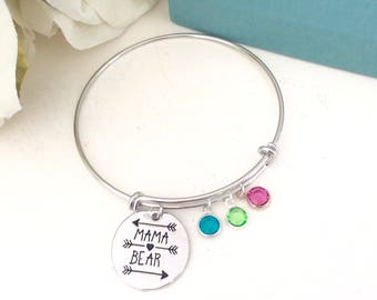 Mothers day gift, Family tree bracelet - Mama Bear Bracelet - Adjustable family tree bangle  Gift for mom grandma gift Personalized bangle