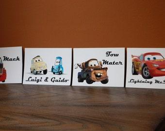 Disney Cars Themed Table Cards - Character Cards - Lightening McQueen, Mater, Guido, Luigi, Mack, etc. - Disney Cars Movie