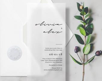 SAMPLE Vellum Script Wedding Invitations Transparent/Translucent Invites with Envelope & Sticker