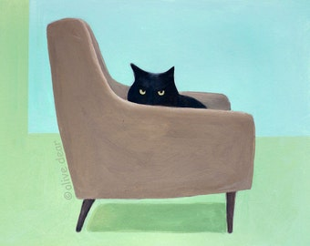 Cat on mid century chair - fine art pigment print of an original painting by Olive Dear, on quality heavy weight edition paper