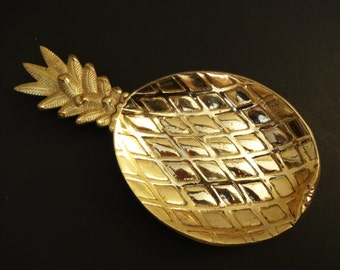 Vintage Mid Century Pineapple Trinket Dish - Mid Century Brass Pineapple Dish - Hollywood Regency Decor