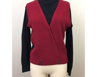 Vintage 60s MOD Red n Black Color Block Turtleneck Sweater S