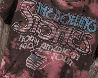 Rolling Stones Kids Shirt - Distressed shirt - Custom band shirt - Bleached shirt - Kids Clothing - Shredded Dreams - Youth Size 10