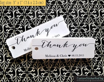 36 thank you tags, modern calligraphy, wedding favor tags, personalized tags, bracket tag, kraft tag, rustic wedding tag, welcome bag (T-90)