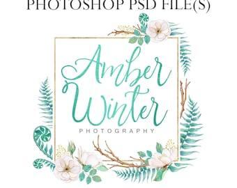 Turquoise watercolor wreath logo, blue foil logo, photography logo, bohemian logo, green floral logo boho logo design watercolor photography