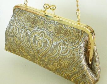 Gold Taupe Blue Damask Purse Handbag - Silky Clutch with Gold Purse Frame and Chain - Made in the USA and Ready to Ship by UPSTYLE