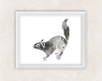 Squirrel Watercolor Art Print in Gray - Critter Art - Animal - Nursery Decor - Kids Wall Art 8x10 PRINT - Item #700A