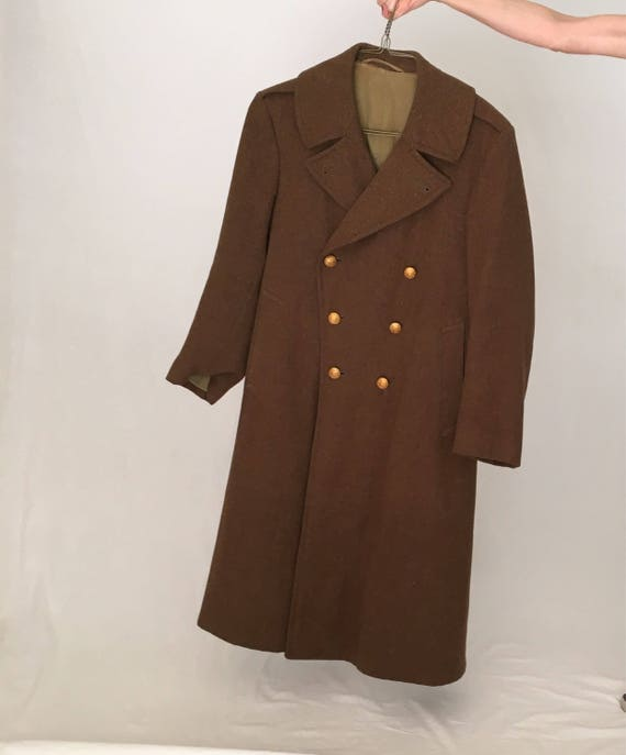 44 military 30s wool Men brown peacoat coat overcoat army brown double long breasted Vintage 40s 42 1940s coat winter coat pea coat 1930s 6Ixqx5Ww4H