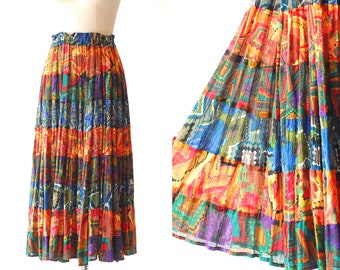 vintage India cotton print maxi skirt / size medium large