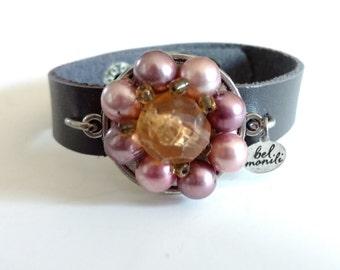 Pink Bracelet, Leather Bracelet, Snap Bracelet, Leather Cuff, Cuff Bracelet, Pantone Bodacious, Recycled Bracelet, Upcycled, Wholesale