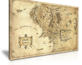 hobbit lord of the rings middle earth map movie stretched canvas wall art picture print 76x50cm