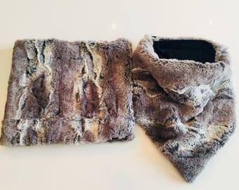 Neck warmer gray rabbit fur
