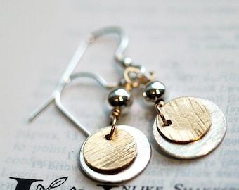 Silver Earrings - Gold Earrings - Silver Gold Earrings - Mixed Metal Dangle Earrings - Luxe Earrings Modern Jewelry Everyday Earrings E3001