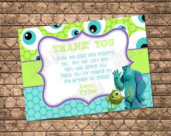 Personalized Monsters Inc.  Thank You Card - Digital File or Printed Copies - Thank You Cards - 5x7 or 4x6