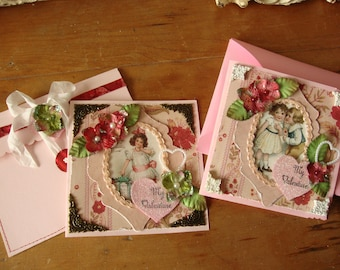 Victorian Valentine's Day greeting card for Best Friend paper art card sentimental mixed media gift for friend vintage style