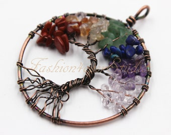 1ps - 7 Charka Tree of Life Antiqued Copper Pendant, Gemstone Tree of Life Pendant, Antiqued Copper Wire Wrapped Tree of Life Pendant