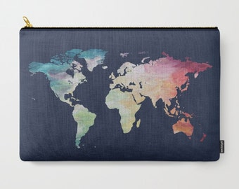 World Map Bag, Navy Carry All, Map Zipper Bag, Travel Makeup Bag, Map Pencil Case, iPad Pouch, Wanderlust Tote, Bridesmaid Gift, Coin Purse