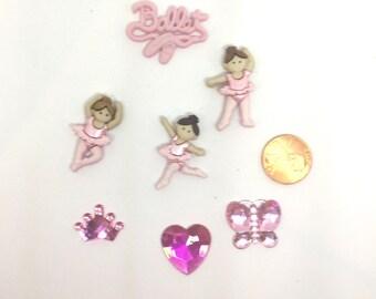 Ballet Push Pins Thumbtacks or Magnets x 7, Push Pins for Girls, Dancer Thumb Tacks, Cork Board Decor, Cubicle Decor, Princess Crown