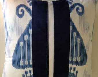 Pillow Cover: navy blue, white, ikat graphic.  Robert Allen fabric with accents of faux suede.