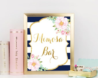 Mimosa Bar sign, Navy Blue and Gold Bridal shower sign, Bridal Shower Mimosa Bar Sign, Printable Sign, Bridal shower decorations, NavP