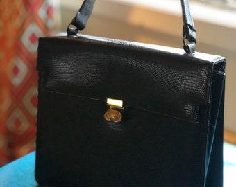 1960s vintage faux croc handbag
