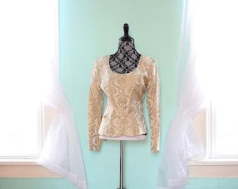 80s Formal Blazer | Gold Blazer | NOS Blazer | Small Blazer S | Size 6 Blazer | Wedding Blazer | Floral Blazer | Fitted Blazer | Preppy