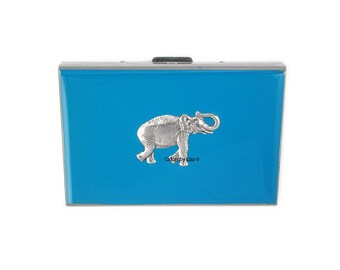 RFID Wallet with Organizer Elephant Inlaid Hand Painted Turquoise Enamel Credit Card Wallet with Personalized and Color Options