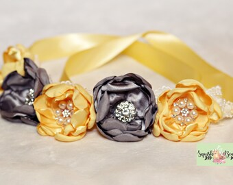 Yellow and Gray Pet Flower Necklace or Crown