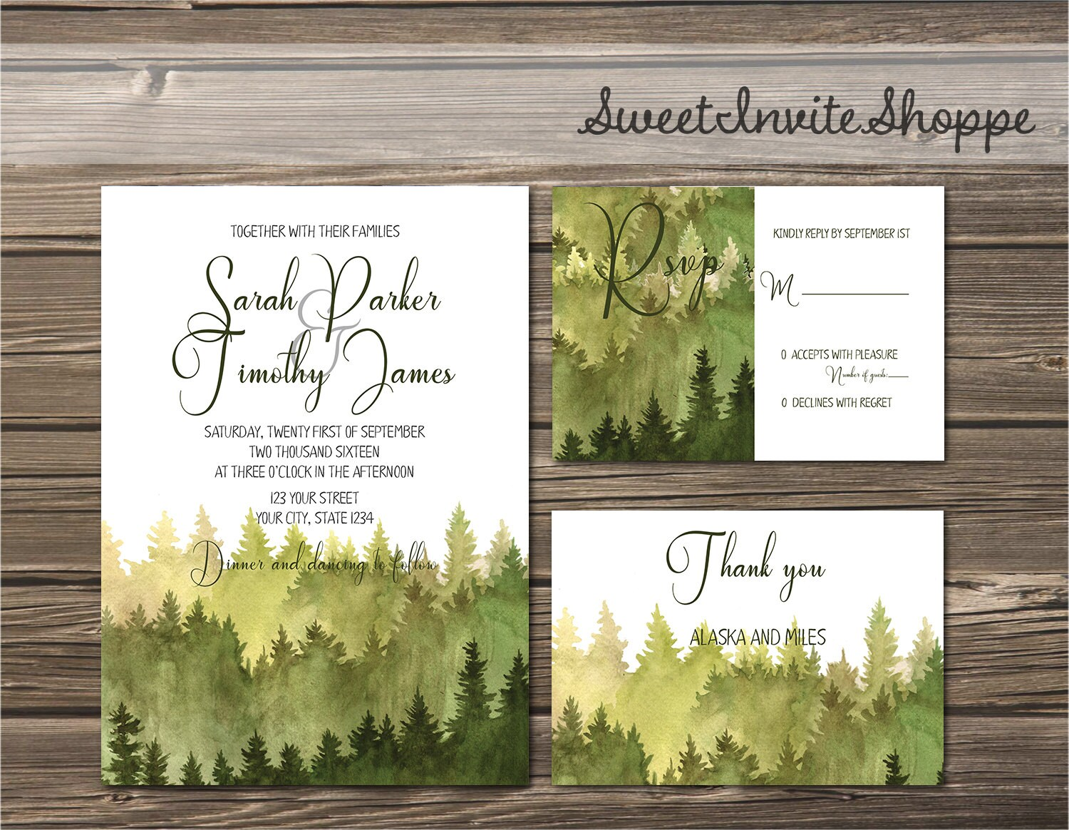 Watercolor Trees Wedding Invitation Rustic Mountain
