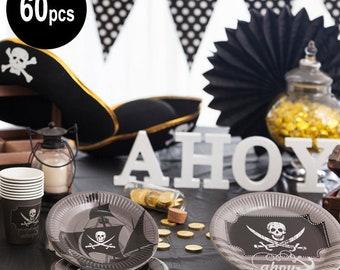60 pcs Pirates tableware, Pirates party supllies, Pirates birthday party
