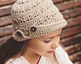 Crochet PATTERN  - Buttoned Brim Hat (baby to adult)