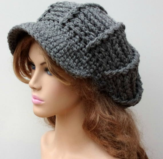 Instant Download Pdf Pattern Newsboy Hatribbed Slouchy Beanie Hat
