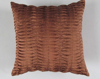 light brown silk pleated  pillow cover. Cenaman pintuck cushion cover  textured silk decorative throw pillow. 16 inch  2 in stock.