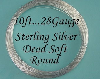28 gauge g ga, 10 Ft Sterling Silver Dead Soft Wire