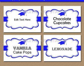 Graduation Food Labels, High School Graduation Buffet Labels, College Graduation Buffet Cards, PRINTABLE Graduation Template, Party Ideas G1
